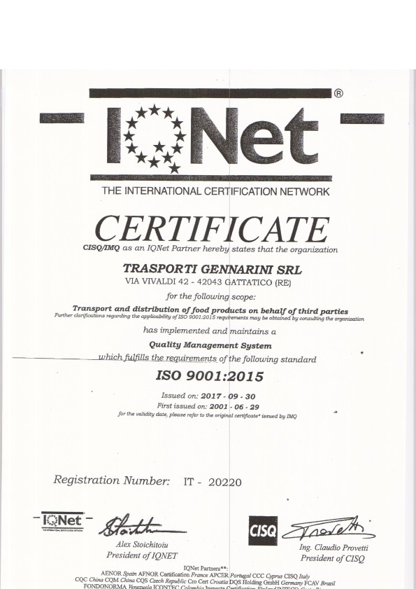 certificato ISO 9001-2015
